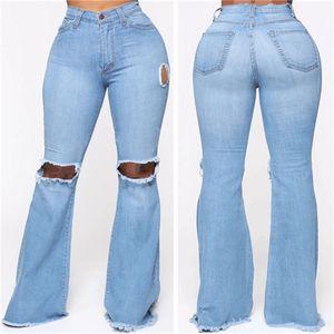 Mode Ripped Trou Femmes Jeans Casual Couleur Bleu longueur de plancher Pantalons Flare femmes Skinny Pantalons longs