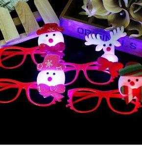 Christmas Glowing Glasses Flash LED Lights Giocattoli per bambini Cartoon Occhiali luminosi Frame Regali di Natale