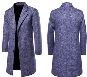 Erkek Yeni Moda Tasarımcısı Yün Ceket Tek Göğüslü Ceketler Mandarin Yaka Orta Uzunlukta Yün Ceket Palto Tasarımcı Giyim