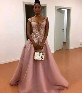 2019 New South African Sheer Neck Flora Appliques Abendkleider Bodenlangen Reißverschluss Zurück Formelle Partykleid