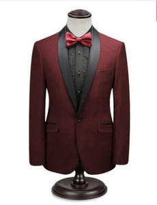 Brand New One Button Burgundy Groom Tuxedos Shawl Lapel Men Suits Wedding Prom Dinner Best Man Blazer (Jacket+Pants+Tie) W318