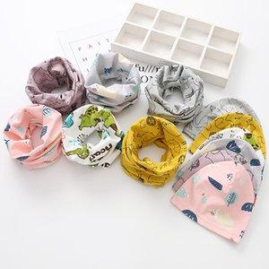 Spring New Cute Cotton Cartoon Animal Pattern Children's Hat Bib Set Boys And Girls Baby Scarf Two-Piece Set CS02