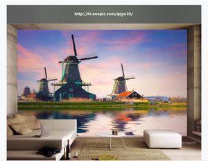 Herhangi bir boyut özelleştirmek ipek fotoğraf duvar kağıdı Hollandalı fırıldak manzara 3d yatak odası tv arka plan duvar duva ...