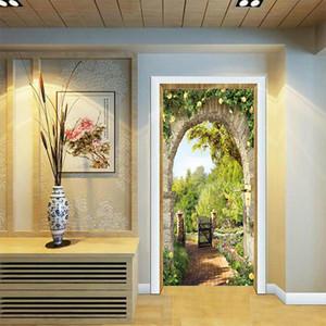 3D Portes italienne Arche Fleurs Paysage Couloir fond décoratif porte PVC autocollant mural Accueil Chambre Salon Décor