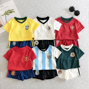 Venda quente nova moda copa do mundo do bebê crianças terno de futebol roupas de crianças de algodão uniforme bebê meninos meninas verão