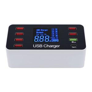 Universal 7 Portas USB Tipo C 5 V / 8A Tomada Carregador Com Tensão Atual Display LCD para o Telefone Móvel Inteligente Tablet PC UE / EUA Plug