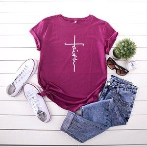 Пятно! Популярные женские рубашки выкройка женские Креста Веры печатных случайные короткие-рукавами t-рубашка