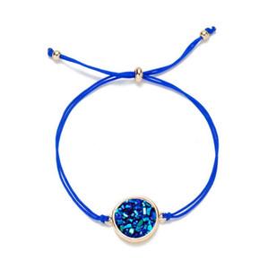Bracelete cintilante Pedra Natural Jóias De Cristal De Quartzo Druzy Charm Bracelet para Mulheres Cadeia CORDA Cuff Bangles presente