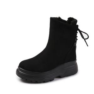 inverno grossa com solado de novos arranha-mid-tubo além de veludo ankle boots high-top sapatos femininos