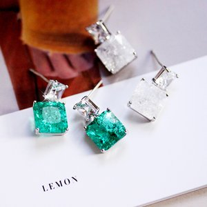 Fashion Special Square Green Stone Drop Earrings Double Square White Ice zircon with Crackle Women Jewelry Accessories Female CX200606