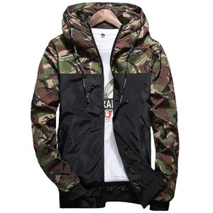IGGY Spring Autumn Mens Casual Camouflage Hoodie Jacket Men Waterproof Clothes Men's Windbreaker Coat Male Outwear 5XL
