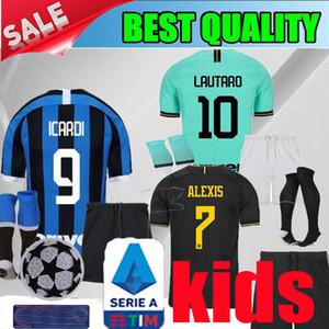 19 20 Интер дома ребенок Лукаку АЛЕКСИС LAUTARO Inter 2019 2020 Милан черных дети футбол Джерси GODIN Барелла Джерси мальчика рубашка футбол