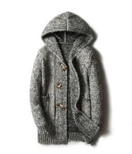 Erkek Atumn Kış Yeni Uzun Ceket Casual Artı boyutu Kapşonlu Ceket Erkek Triko Hırkalar Tek Breasted Katı Coats