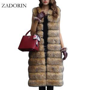 Sıcak Faux Fur Kolsuz Ceket 2017 Kış Kalınlaşmak Kadınlar Uzun Sahte Kürk Yelek Lüks Sahte Coats fourrure Gilet Abrigos de piel