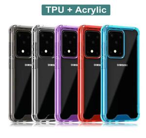 La caja del teléfono a prueba de golpes transparente Acrílico PC TPU para Samsung Galaxy Plus S20 S20 S11 Ultra Nota 10 Pro Plus S10 A30 A50S