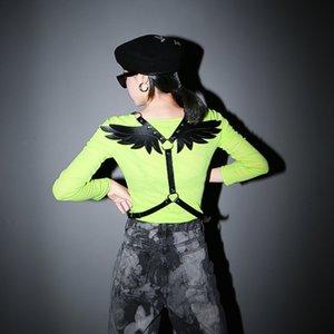 WKOUD EAM 2020 New Fashion Metal Buckle PU Leather Waistband Women Casual Angel Wings Girdle Female High Quality Belt Tide PE058