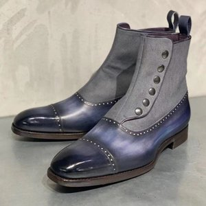 ankle boots for men sapato feminino chaussure slip on low heels matin shoes male man shoe men's vintage PU leather booties D56