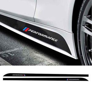 Car Styling carro porta lateral saia Tiras de etiqueta para a BMW M desempenho para Fiber BMW Motorsport Carbon Black decalques 3D 5D Decoração Exterior