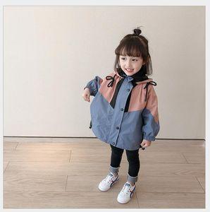 Children's athletic & outdoor apparel Jackets&Hoodies 2020 spring new children's coatgirls' color matching hooded trench coat stormcoat 2128