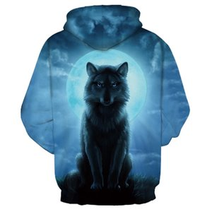 New Plus Size Fashion CP Personality Lose Pullover Wolf Print 3D Digital Owl Print Causal Sweatshirts Long Sleeve Winter Hoodies