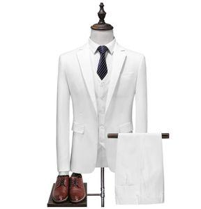 White Men's Formal Custom Suits Wedding Tuxedo Casual Men Business Latest Suits Fashion Dinner Prom 3 Pieces Blazer Vest Pants LY191129