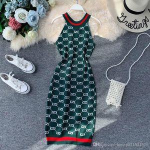 carta de cuello halter mangas de la impresión del bodycon túnica tejida midi cintura delgada de las nuevas mujeres del vestido del diseño largo vestido elástico elástico