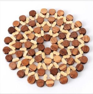 Yalıtım ped bambu placemat Kalınlaşmak yuvarlak hollow masa mat Mutfak çatal pot anti-haşlanma kase ped B637
