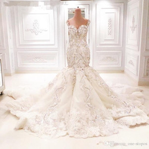 2020 Sparkly dentelle sirène mariage cathédrale train robes 3D Floral V-neck Backless luxe Dubaï arabe Fishtail Robes de mariée