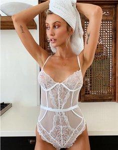 Low Bossom Magro Macacões Womens cintura alta Sexy bodysuits Lace malha Halter macacãozinho Sólidos See Through