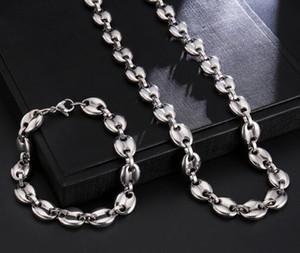 vente chaude 24 « » + 8,66 « » garçons Colliers hommes Grains de café chaîne Bracelets Set en acier inoxydable de 9 mm Argent Lien Porte-Hiphop Bijoux USENSET