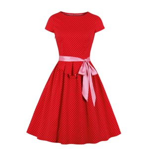 Supplier Womens Casual Dresses in Belt Cotton Swing Dress for Wedding Party 1950s Vintage Dress Red Short Sleeve Polka Dot Dress for Work