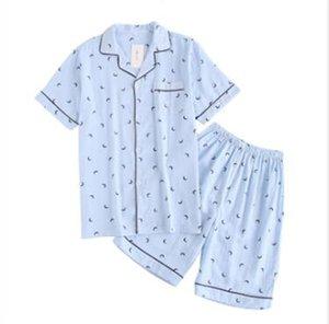 New Couple Pajamas set gauze Cotton Pajamas Moon pijamas Women&Men pyjamas Short Sleeve Autumn Spring 2pcs Sleepwear Lounge Wear