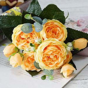Rose Pfingstrose-künstliche Seidenblumen Kleine Bouquet Flores Zuhause-Party-Frühlings-Hochzeit Dekoration Mariage Gefälschte Blume