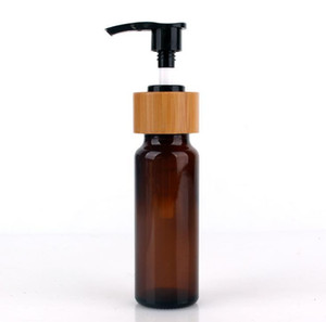 60ml Amber Glass Pump Bottle Essential Oil Bottles with Real Bamboo Screw Cap Black Pump Top SN765