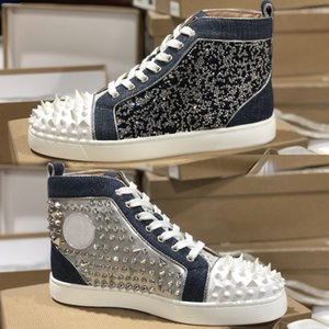 scarpe in pelle argento Junior Spikes della scarpa da tennis delle più nuove donne degli uomini rossi delle scarpe da tennis di fondo delle donne di alta-top in pelle scamosciata con borchie scarpe da tennis Lace Up partito