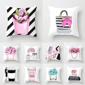24 Tasarımcı Yastık Kılıfı Küçük Parfüm Şişesi Serisi Baskı Yastık Moda Ev Otel Araba Koltuk Minderi XD22868 Kapakları
