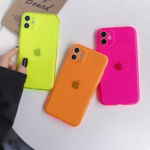 Fluorescent Solid Color Phone Case For iphonePhone 11 Pro Max XR X XS Max 7 8 Plus Case Soft TPU Silicon Clear Phone Back Cover Coque