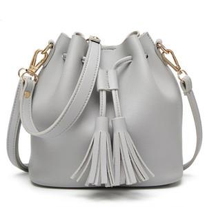 2020 Hombro Bucket primavera nuevo estilo de las mujeres de bolso ocasional sólida del color de la PU de las mujeres del bolso para mujer de los bolsos