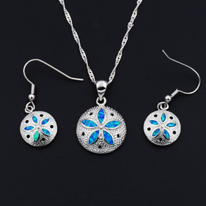 Ocean Blue Collection Mermaid Sand Dollar Turtle Starfish Pendant Necklace and Earrings Jewelry Set