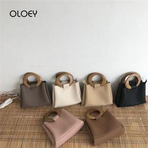 Brand Wooden Ring Totes Bags for Luxury Handbags Women Bag Designer Casual Shoulder Messenger Bag Pu Leather Cross Body Sac