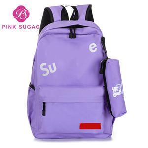 Pink sugao 2 PCS set mochila mochila de diseño para mujeres mochilas niñas bolsos de diseño monederos mochila para niñas de la escuela mochila de lona