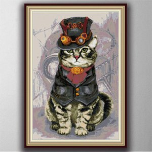 Mighty cat home decor paintings ,Handmade Cross Stitch Embroidery Needlework sets counted print on canvas DMC 14CT  11CT
