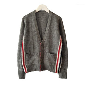 Womens Sweaters Fashion Weave Pattern Casual Kintwears Spring and Autumn Big Pocket Clothes Designer Striped Decorashion