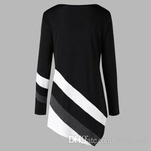 Fashion Women Hoodies Pullover Sweat Casual Long Sleeve Hooded Autumn Winter Striped Asymmtrical Tunic Tops Plus Size Sweatshirt Wholesale