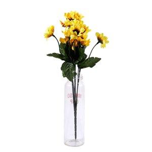 Artifical 14 Chefes Falso pano girassol Silk Flower Bouquet Início floral do casamento Decor Amarelo
