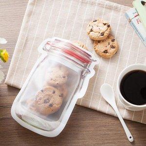 Сумки Safe Молнии хранения Пластикового Mason Jar Shaped контейнер еда Resuable Экология закуска сумка 200шт