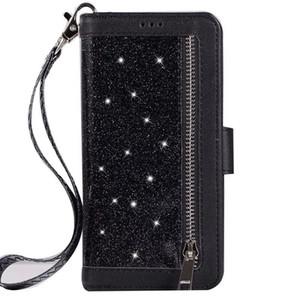 Coolpad Legacy Aydınlatmak için 3310 LG Stylo 5 4 K40 K12 K10 V40 V3 G6 Q7 Artı Konforlu Tasarım Flaş Fermuar El Zincir Deri Kılıf