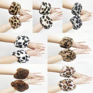 Круг леопардового Плюшевые Браслет Мода Теплого Fur Круглых Браслеты браслеты ручной кольцо Хэллоуина Рождество партия подарки RRA2200