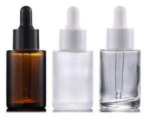 30ml piana del commercio all'ingrosso spalla libera glassata di vetro ambrato rotonda bottiglia di olio essenziale di vetro contagocce siero con per i prodotti cosmetici essenza