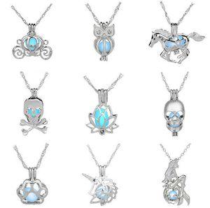 Lujo Brilla en la piedra oscura collar Abierto 3 colores jaula de perlas luminosa collares pendientes Para las mujeres Collar de medallones de perlas